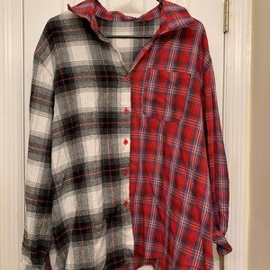 shein black and red flannel button up
